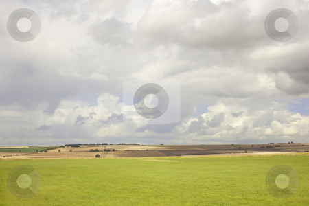 Fields and sky in summer stock photo, A view of fields and sky on a summers day by Mike Smith