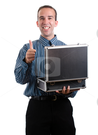 Good Job stock photo, A young man holding an open case and giving a thumb up, isolated against a white background by Richard Nelson