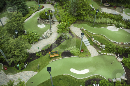 Mini golf course stock photo, Aerial view of a mini golf course by Vlad Podkhlebnik