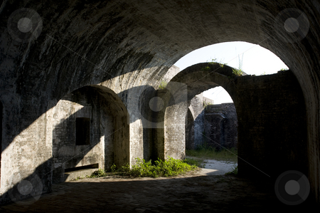 Civil War Fort Arches stock photo, View of the arch construction inside a Civil War fort.  (Fort Pickens,  Gulf Islands National Seashore) by A Cotton Photo