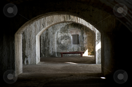 Civil War Fort Casement stock photo, Casements in a civil war fort, where the cannons were aimed loaded from.  (Fort Pickens,  Gulf Islands National Seashore) by A Cotton Photo