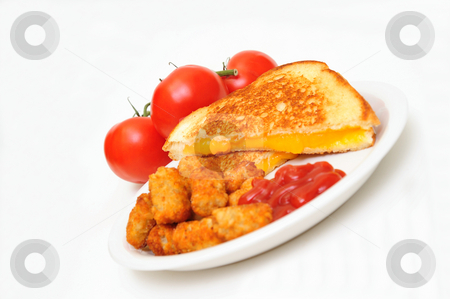 Grilled Cheese stock photo, Grilled cheddar cheese sandwich with tater tots and ketsup, whole tomatoes in the background and isolated on white. by Lynn Bendickson