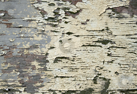 Dirty flaky paint on a wooden fence close up texture. stock photo, Dirty flaky paint on a wooden fence close up texture. by Stephen Rees