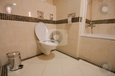 Toilette stock photo, Toilette in hotel room by Istv??n Cs??k