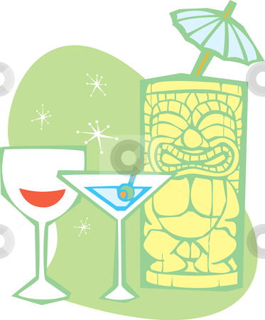 Tiki and Martini Drinks stock vector clipart, Retro styled Tiki thinks about having a martini. by Jeffrey Thompson