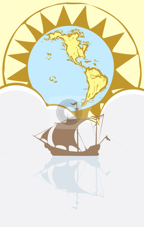 Boat and Compass stock vector clipart, Boat floating on a still sea with a map and compass in background. by Jeffrey Thompson