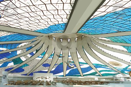 Brazilian cathedral stock photo, Brazilian cathedral indoor wiew fulfilled by Oscar Niemeyer by Bernardo Varela