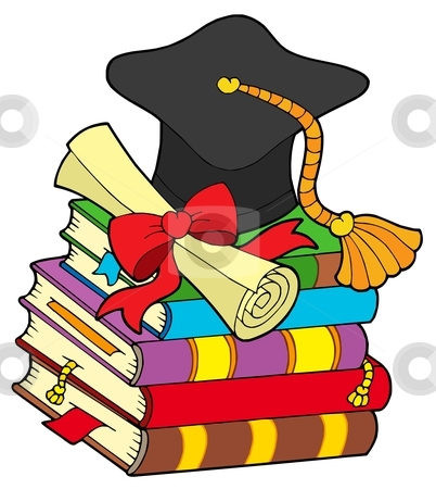 Graduation hat on pile of books stock vector clipart, Graduation hat on pile of books - vector illustration. by Klara Viskova