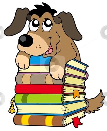 Cute dog on pile of books stock vector clipart, Cute dog on pile of books - vector illustration. by Klara Viskova