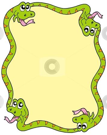 Snake frame 3 stock vector clipart, Snake frame 3 on white background - vector illustration. by Klara Viskova