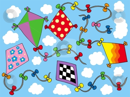 Various kites flying on sky stock vector clipart, Various kites flying on sky - vector illustration. by Klara Viskova