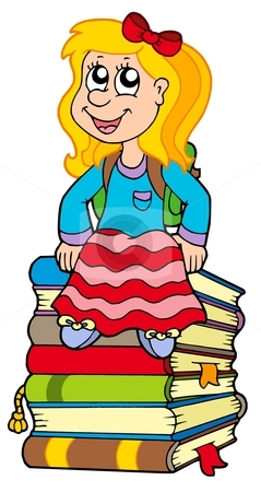 Girl sitting on pile of books stock vector clipart, Girl sitting on pile of books - vector illustration. by Klara Viskova