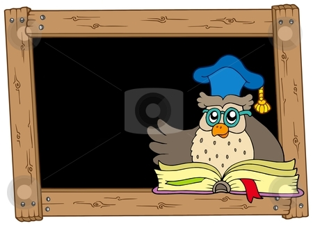 Wooden blackboard with owl teacher stock vector clipart, Wooden blackboard with owl teacher - vector illustration. by Klara Viskova