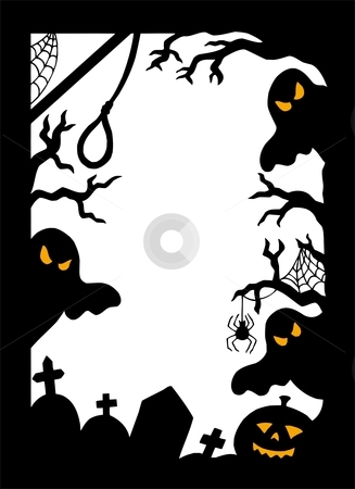 Halloween silhouette frame stock vector clipart, Halloween silhouette frame - vector illustration. by Klara Viskova