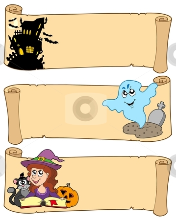 Halloween banner collection 3 stock vector clipart, Halloween banners collection 3 - vector illustration. by Klara Viskova