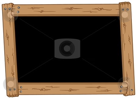 Wooden blackboard stock vector clipart, Wooden blackboard on white background - vector illustration. by Klara Viskova