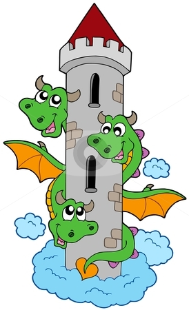 Three headed dragon with tower stock vector clipart, Three headed dragon with tower - vector illustration. by Klara Viskova