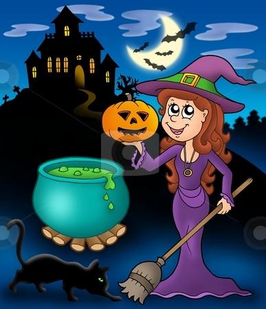 Haunted mansion with wizard girl stock photo, Haunted mansion with wizard girl - color illustration. by Klara Viskova