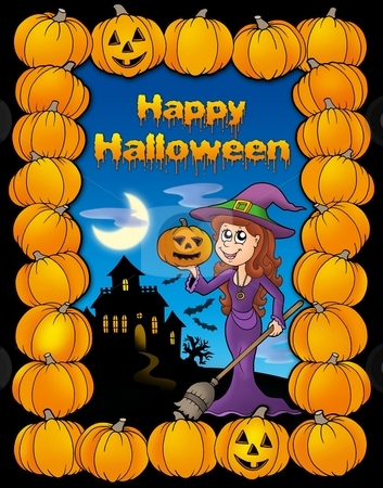 Happy Halloween card stock photo, Happy Halloween card - color illustration. by Klara Viskova