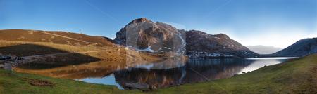 Lake Enol stock photo, Scenic of lake Enol in Asturias, Spain by Bernardo Varela