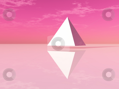 Pyramid stock photo, White pyramid under abstract sky - 3d illustration by J?