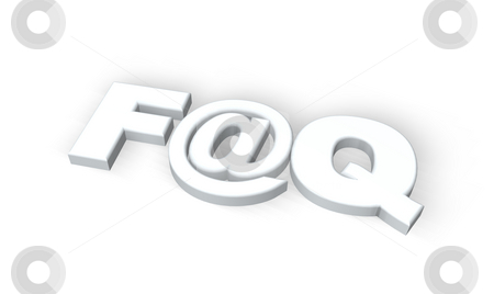 Faq stock photo, Frequently asked questions symbol with emailalias on white background - 3d illustration by J?