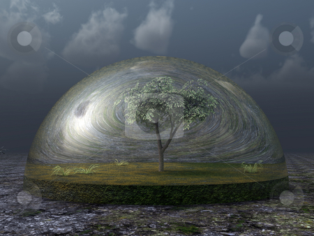 Tree stock photo, Tree under glass dome in desert - 3d illustration by J?