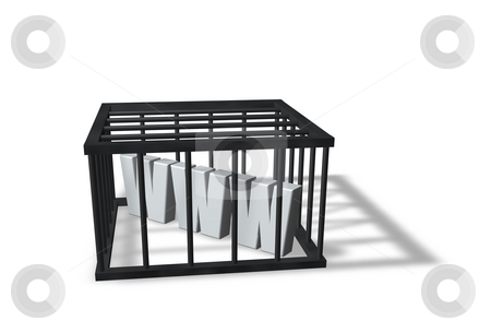 Censorship stock photo, The letters www in a cage on white background - 3d illustration by J?
