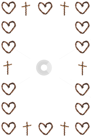 Hearts and Crosses Border stock photo, Border created by wooden hearts and crosses by Vanessa Van Rensburg