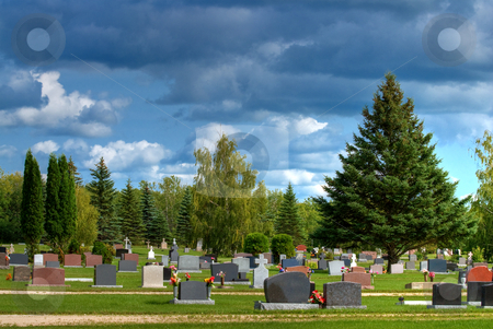 Cemetery stock photo, A cemetery or graveyard shot on a cloudy day by Richard Nelson