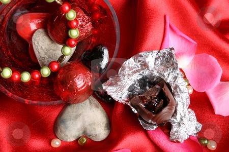 Valentines Day treats stock photo, Valetines day treats with bracelet, chocolates and hearts by Vanessa Van Rensburg