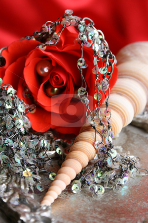 Red Rose Pearl stock photo, Red rose with fine jewelery on a seashell by Vanessa Van Rensburg