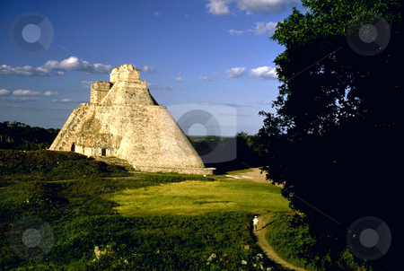 Pyramid of the Magician stock photo, Mexico, Yucatan, Mayan Ruins of Uxmal, Pyramid of the Magician by David Ryan