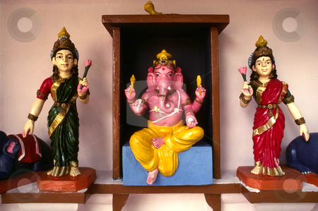 Ganesh stock photo, Singapore, Sri Mariamman Temple, Ganesha, Remover of Obstacles (center) by David Ryan