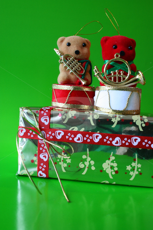 Red Teddy stock photo, Two bears on a christmas gift, red teddy infront by Vanessa Van Rensburg
