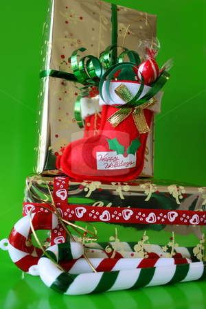 Christmas Candy stock photo, Christmas Decorations and Candy sticks with a stocking by Vanessa Van Rensburg
