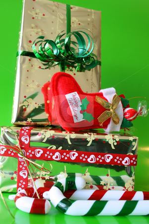 Christmas Gifts stock photo, Brightly colored christmas gifts and decorations by Vanessa Van Rensburg