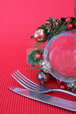 Half a glass stock photo, Christmas Table setting with cutlery and wine glass by Vanessa Van Rensburg