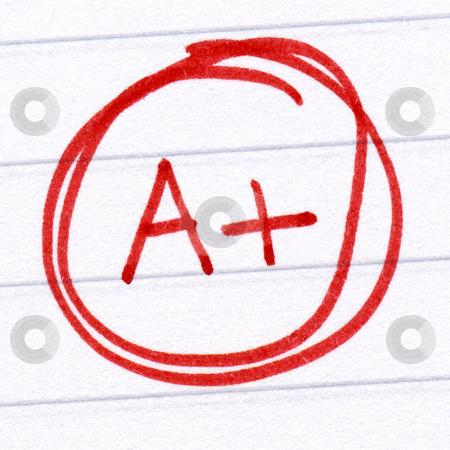 A+ grade written on a test paper. stock photo, A+ grade written on a test paper. by Stephen Rees