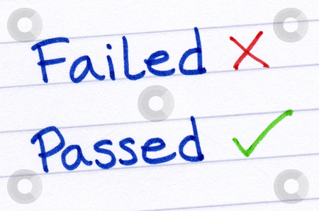 Failed and passed written on white paper. stock photo, Failed and passed written on white paper. by Stephen Rees