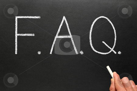 FAQ, frequently asked questions abbreviation, written on a blackboard. stock photo, FAQ, frequently asked questions abbreviation, written on a blackboard. by Stephen Rees