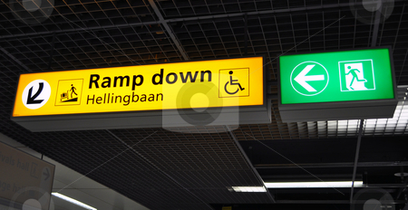 Airport terminal sign stock photo, Airport terminal: ramp down sign. Amsterdam Schiphol. by Fernando Barozza