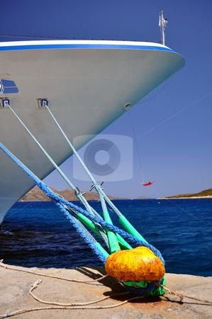 Moored ship stock photo, Ship tied to mooring cleat by Fernando Barozza