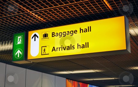 Airport terminal sign stock photo, Airport sign: baggage claim and arrival hall. Amsterdam Schiphol. by Fernando Barozza