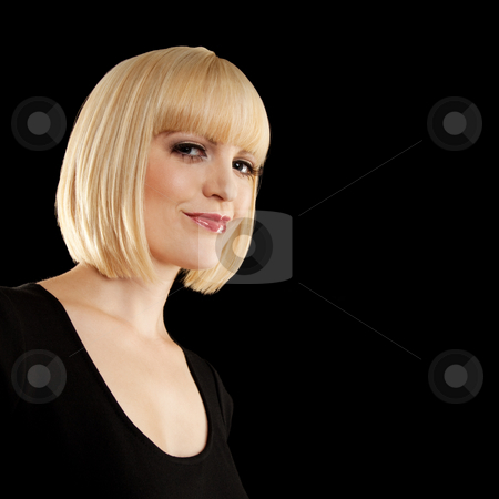 Beautiful Blonde Smiling stock photo, A beautiful blonde woman smiling.  She is wearing black. Square framed photo. by Media Deva