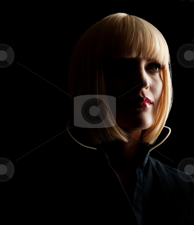 Blonde Woman's Silhouette stock photo, The silhouette of a beautiful blonde woman.  Square framed photograph. by Media Deva