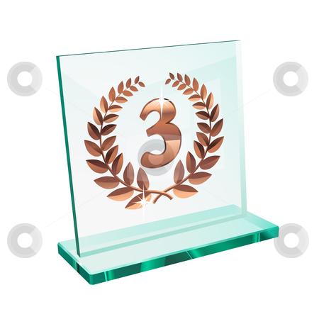 Bronze trophy for third stock vector clipart, Bronze trophy for third place on a glassy pedestal by Laurent Renault
