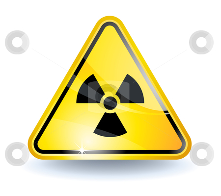 Radiation sign stock vector clipart, Radiation sign with glossy yellow surface by Laurent Renault