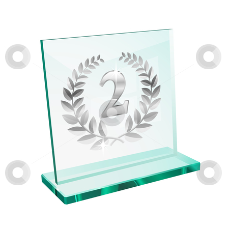 Silver trophy for second stock vector clipart, Silver trophy for second place on a glassy pedestal by Laurent Renault