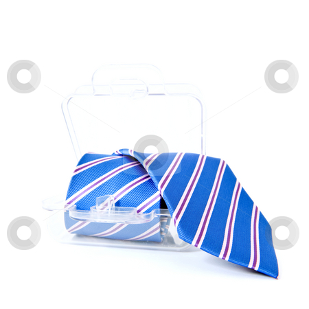 Necktie gift pack stock photo, Blue striped necktie in a transparent plastic gift pack by Corepics VOF